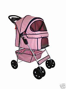 BestPet Pink Pet Dog Cat Stroller Carrier w Raincover P